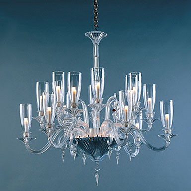 Baccarat Mille Nuits Chandelier 18 Lights, with hurricane shade holders
